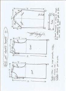 Esquema de modelagem de blusa com abertura na frente e costas tamanho 50.