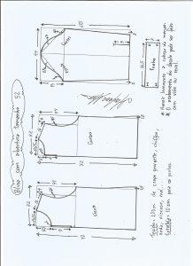 Esquema de modelagem de blusa com abertura na frente e costas tamanho 52.