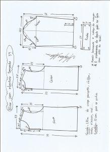 Esquema de modelagem de blusa com abertura na frente e costas tamanho 54.