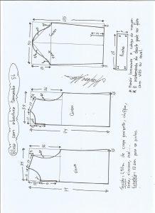 Esquema de modelagem de blusa com abertura na frente e costas tamanho 56.