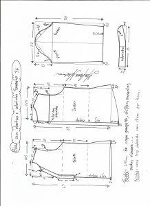 Esquema de modelagem de blusa com abertura e meio colarinho tamanho 36.