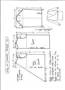Esquema de modelagem de blusa transpassada tamanho 40.