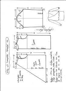 Esquema de modelagem de blusa transpassada tamanho 44.