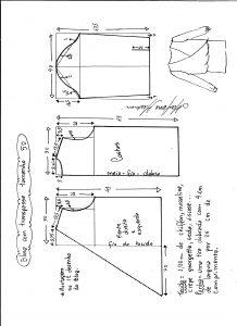 Esquema de modelagem de blusa transpassada tamanho 50.
