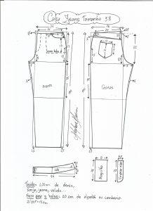 Esquema de modelagem de calça jeans tradicional tamanho 38.