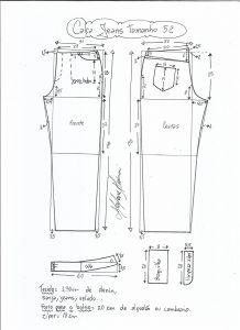 Esquema de modelagem de calça jeans tradicional tamanho 52.