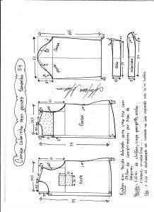 Esquema de modelagem de camisa sem pences tamanho 54.