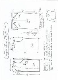 Esquema de modelagem de casaqueto gola alta com manga 3/4 tamanho 44