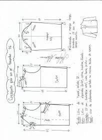 Esquema de modelagem de casaqueto gola alta com manga 3/4 tamanho 46.