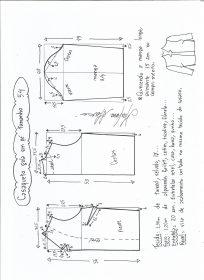 Esquema de modelagem de casaqueto gola alta com manga 3/4 tamanho
