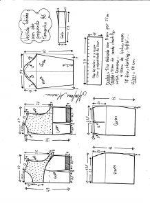 Esquema de modelagem de vestido tubinho com aba pregueada e detalhe em renda tamanho 46