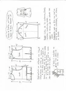 Esquema de modelagem de vestido tamanho 36.