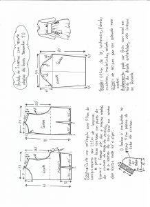 Esquema de modelagem de vestido de inverno com recorte abaixo do busto tamanho 40.