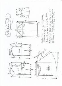 Esquema de modelagem de vestido de inverno com saia rodada tamanho 38.
