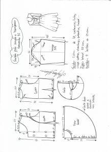 Esquema de modelagem de vestido gola ampla tamanho 42.