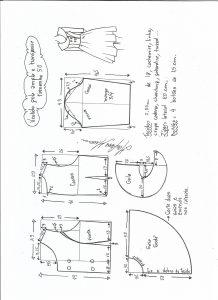Esquema de modelagem de vestido gola ampla tamanho 50.
