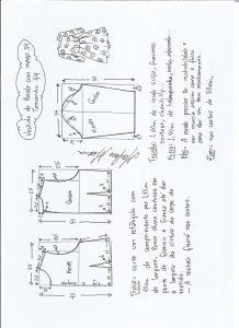 Esquema de modelagem de vestido meia estação de renda e manga 3/4 tamanho 44.