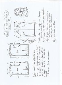 Esquema de modelagem de vestido meia estação de renda e manga 3/4 tamanho 48.