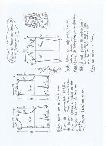 Esquema de modelagem de vestido meia estação de renda e manga 3/4 tamanho 54.