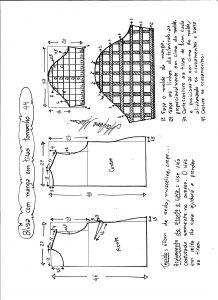 Esquema de modelagem de blusa com manga em tiras tamanho 44.