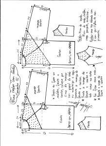 Esquema de modelagem de blusa raglan com recortes tamanho 42.