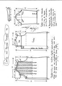 Esquema de modelagem de camisa com nervuras tamanho 44.