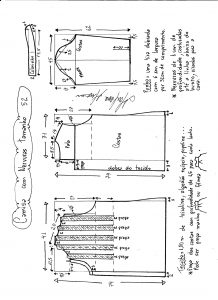 Esquema de modelagem de camisa com nervuras tamanho 52.