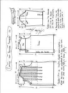 Esquema de modelagem de camisa com nervuras tamanho 54.