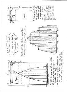 Esquema de modelagem de saia com recorte vertical e pregas tamanho 42.