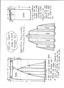 Esquema de modelagem de saia com recorte vertical e pregas tamanho 52.