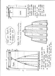 Esquema de modelagem de saia com recorte vertical e pregas tamanho 54.