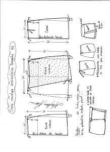 Esquema de modelagem de saia envelope assimétrica tamanho 40.