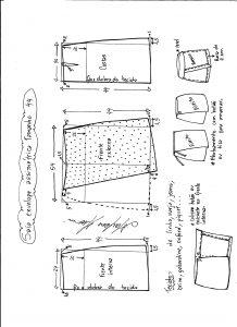 Esquema de modelagem de saia envelope assimétrica tamanho 44.