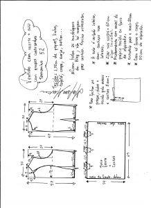 Esquema de modelagem de vestido com recorte e pregas costuradas tamanho 52.