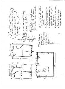Esquema de modelagem de vestido com recorte e pregas costuradas tamanho 5