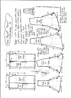 Esquema de modelagem de saia mulet sereia tamanho 36.