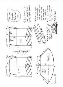 Esquema de modelagem de saia sino com pregas diagonais tamanho 38.