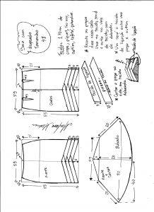 Esquema de modelagem de saia sino com pregas diagonais tamanho 48.