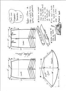 Esquema de modelagem de saia sino com pregas diagonais tamanho 54.
