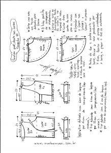 Esquema de modelagem de vestido godê com decote nas costas tamanho 40.