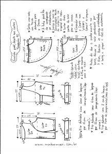 Esquema de modelagem de vestido godê com decote nas costas tamanho 42.