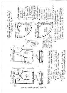 Esquema de modelagem de vestido godê com decote nas costas tamanho 50.