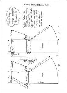 Esquema de modelagem de vestido longo, manga borboleta e recorte abaixo do busto tamanho 44.