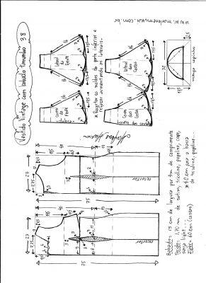 Esquema de modelagem de vestido vintage com babado na barra tamanho 38.