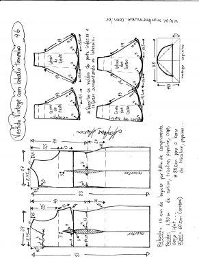 Esquema de modelagem de vestido vintage com babado na barra tamanho 46.