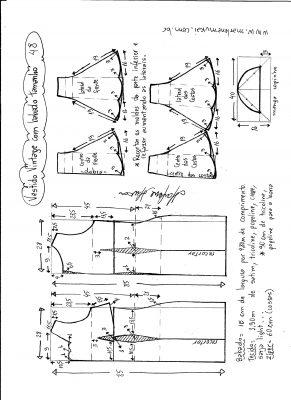 Esquema de modelagem de vestido vintage com babado na barra tamanho 48.