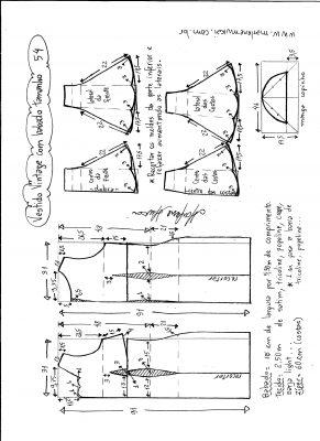 Esquema de modelagem de vestido vintage com babado na barra tamanho 54.