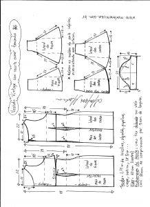 Esquema de modelagem de vestido víntage evasê com recorte tamanho 36.