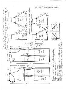 Esquema de modelagem de vestido víntage evasê com recorte tamanho 38.