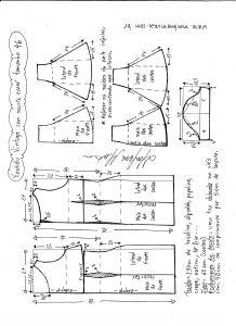 Esquema de modelagem de vestido víntage evasê com recorte tamanho 46.